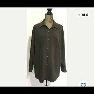 Talbots 1X olive green button up shirt top